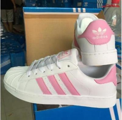 NEW Adidas Superstar Women's Iridescent Casual Up Sneakers White pink 7.5