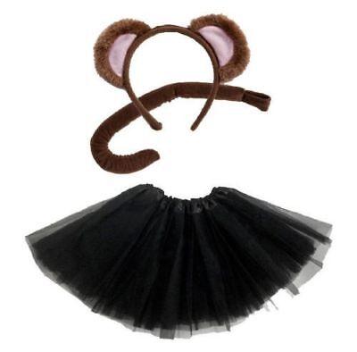 Affe KOSTÜM Mädchen Damen Verkleiden Fasching Karneval Dress Up Halloween 3 Teil ()
