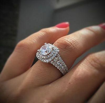 Certified 2.25 Ct Round Diamond Double Halo Engagement Ring in 14k White Gold