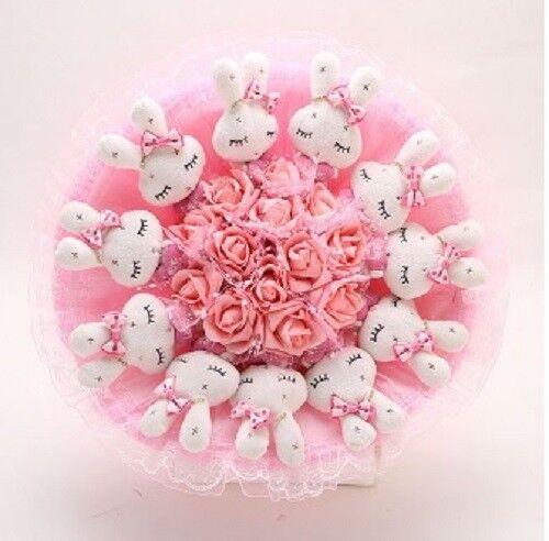 Handmade Plush Doll Bouquet Artificial Flower Cute Rabbit Pink Mother