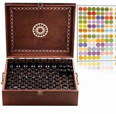 Elegant Wooden Essential Oil Storage Box Holds 77 Bottles with Dropper Tops