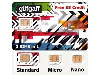 2 x Giffgaff Nano Sim Card Top up £10 & Get £5 Free Credit New Uses O2 Network 1p !! Sended FREE
