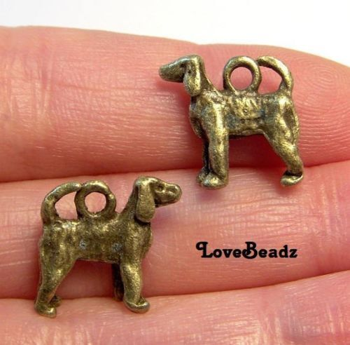 15 Bronze Dog Charms-Puppy-Pet-Dog Lover-Animal Lover-Jewelry Drops-Findings