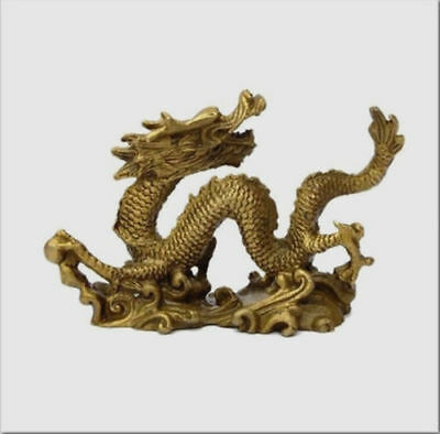 Chinese Brass Copper Handmade Carved dragon Statues