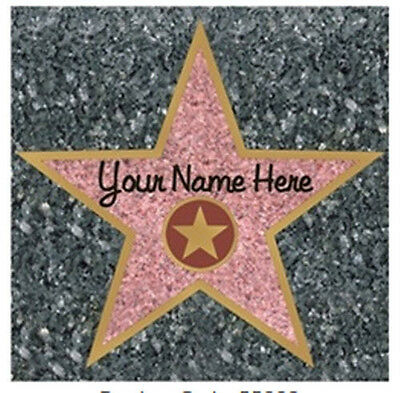 HOLLYWOOD WALK OF FAME STAR wall sticker 1 big decal ADD YOUR NAME - Hollywood Star Stickers