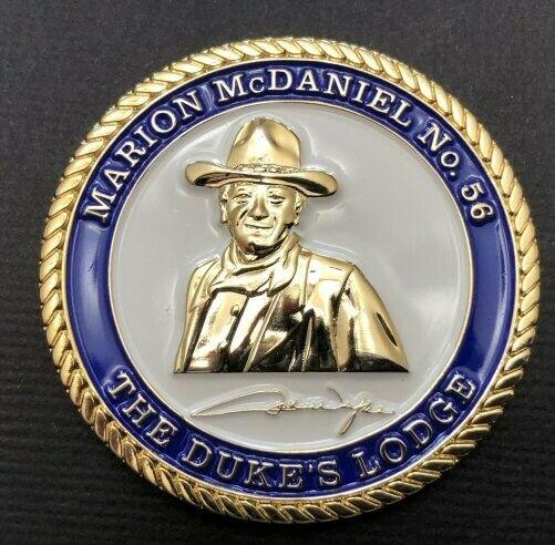 2 John Wayne Masonic Coins-50th Anniv As Master Mason & 50th Anniv Of His Lodge