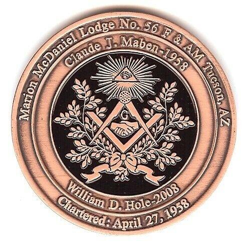 50 Yr Masonic Commemorative Copper Coin-John Wayne