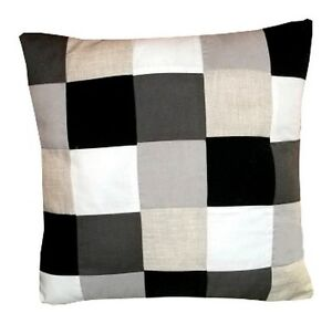 housse de coussin damier tons gris noir et blanc 40cmx40cm ebay. Black Bedroom Furniture Sets. Home Design Ideas