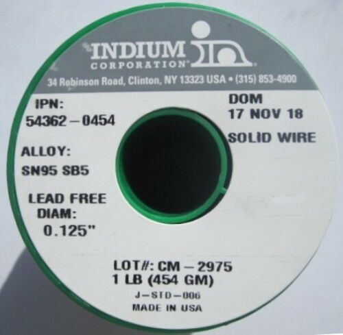 """Indium Solid-Wire Lead-Free Solder / Sn95 Sb05 / High-Temp / .125"""""""