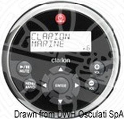 Clarion Black SS Marine Remote Control with LCD - Marine Lcd Remote