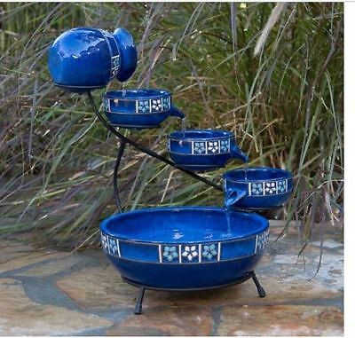 Outdoor Tiered Fountain Cascade Ceramic Pots Solar Garden Decor Bowls Bath Pump ()