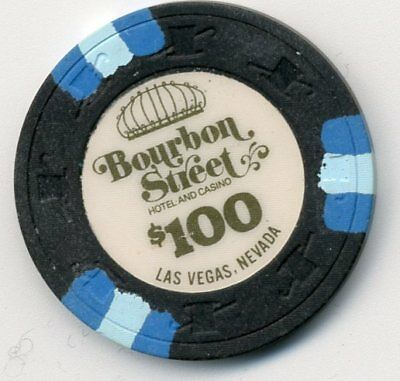 Set of 4 chips BOURBON STREET OBS.  LAS VEGAS $100   HOUSE CASINO CHIP