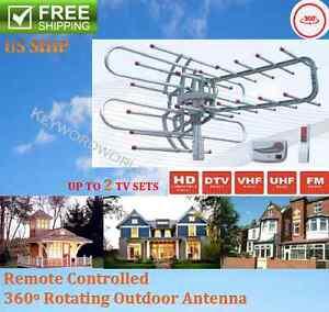 HDTV 1080P Outdoor Amplified Antenna Digital HD TV 180 Mile 360 Rotor UHF/VHF/FM
