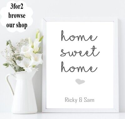 Wall Quote Print A4 Personalised Family names Love House Sweet Home gift *3FOR2*