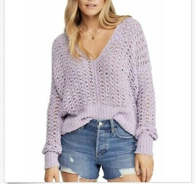 NWT $128 Free People Best Of You Loose Knit V-Neck Sweater Purple