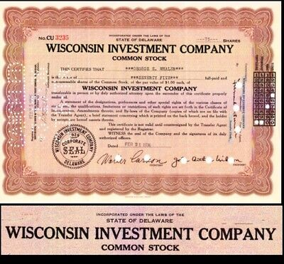 Wisconsin Investment Company 1936 Stock Certificate