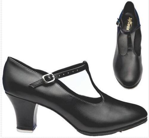 "So Danca Character Shoes TA49 - Black T-Strap 2"" Heel"