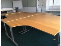 Wooden topped large office desks with returns x 6