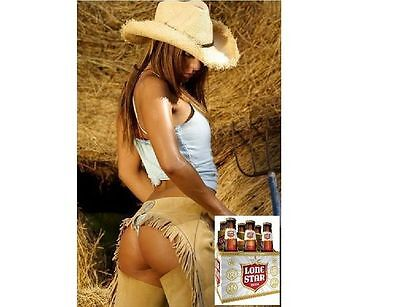 """Lone Star Beer Cowgirl  Ad refrigerator magnet 3 1/2 X 3 1/2 """""""