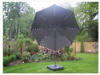 6 Palma Luxury 3M LED overhanging parasols + Palma Parasol Base (TAUPE)