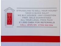 WE BUY HOUSES IN BIRMINGHAM - £1,000 CASH FOR REFERRALS! - YOUR LEGAL FEES PAID!