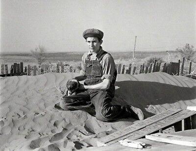 1936 Kansas DUST BOWL PHOTO Great Depression Farm Boy, DUST STORM, Farm House