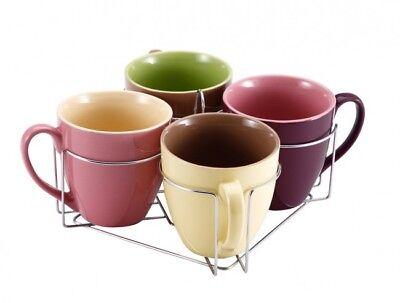 5 Piezas Juego de Tazas Soporte 580ml Cerámica Té Espresso Jumbo