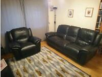 3 seater and single seater leather recliners
