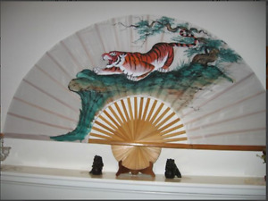 OIL ON SILK PAINTING FAN , THE TIGER.