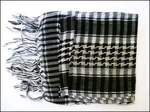 Black White Men ladies Wrap Arab Arafat Shemagh Keffiyeh Scarf Shawl Pashmina UK