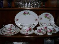 American Beauty China 5 piece place setting, addnl pieces avail