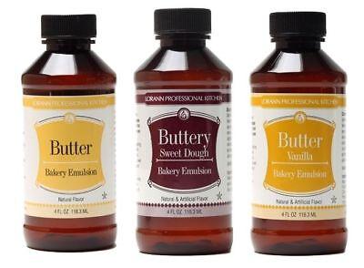 LorAnn Butter, Buttery Sweet Dough and Butter Vanilla Bakery Emulsion 4 Oz Each
