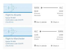 2 Flight Tickets From Manchester To Alicante & Returning Tickets (PRICE INCLUDES CHANGE OF NAME FEE)
