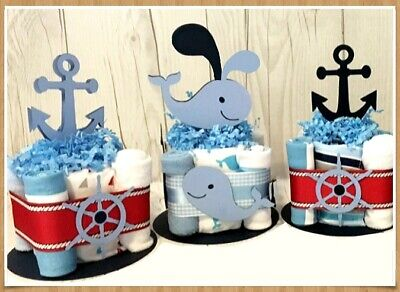 6 Nautical Beach theme Cutouts DIY Diaper Cake Baby Shower GIFT CENTERPIECES - Beach Themed Baby Shower