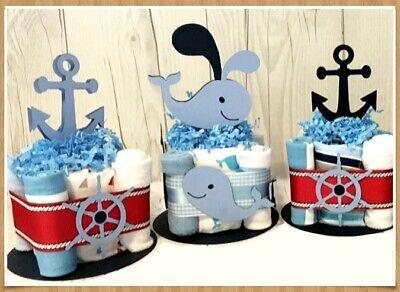 6 Nautical Beach theme CutoutsDIY Diaper Cake Baby Shower GIFT CENTERPIECES - Beach Themed Baby Shower