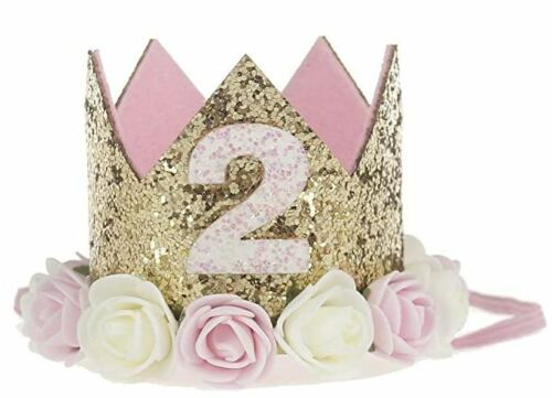 Baby Princess Tiara Crown Second 2nd Birthday Hat Girls Sparkly Flower Headband