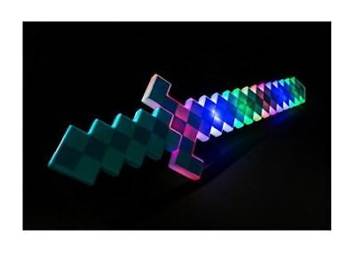 1 pc FLASHING LIGHT UP DIAMOND PIXEL SWORD LED SOUND FX  BLUE - Led Light Sword