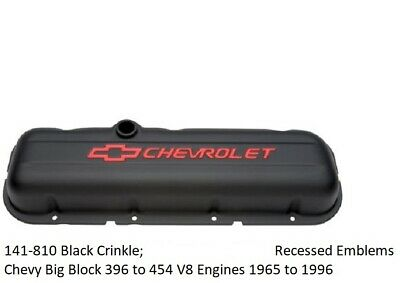Proform Engine 141-810 Valve Cover Set; Short Black Steel for Chevy 396-454 BBC ()