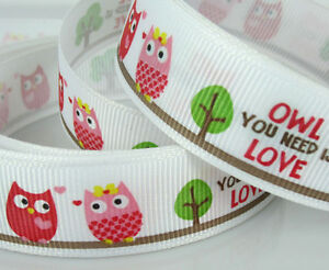 Free-Shipping-10yards-3-4-19mm-Printed-OWL-Multicolor-Grosgrain-Ribbon