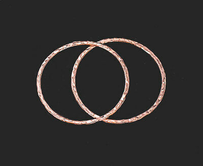 Tribe Silver 30mm - Karen Hill Tribe Silver Rose Gold Vermeil  2 Hammered Circle Rings 30 mm.