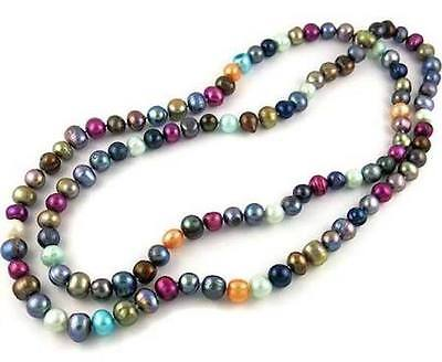 Genuine Freshwater Multicolor Pearl Endless Necklace Red/White 36 Inch