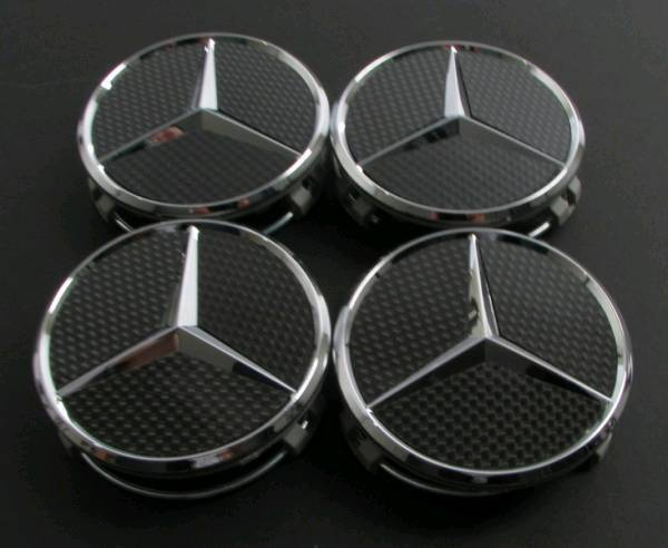 Mercedes Benz wheel hub cap carbon fibre and chrome set of 4