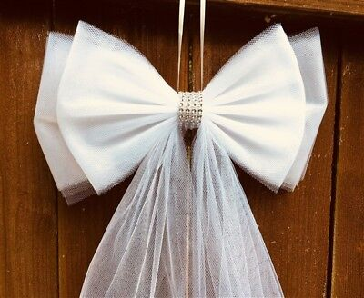 Wedding Pew Bows Tulle Pew Bow Aisle Decor Double - Wedding Aisle Decor