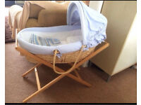 Mamas and papas blue Moses basket with stand