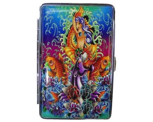 Eclipse Leatherette Mermaid & Koi Crushproof Cigarette Case, 100s, 3101L14TAT-2