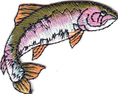 Fish Rainbow Trout (RAINBOW TROUT RIGHT FISHING  FRESHWATER FISH Iron On Embroidered Patch )