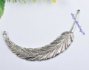 2PCS-feather-Connector-Tibetan-Silver-jewelry-crafts-Charms-findings-SH820