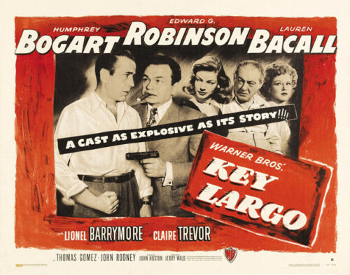 KEY LARGO 1948 HALF SHEET CARD 11x14 HUMPHREY BOGART, LAUREN BACALL