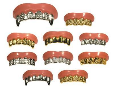 HALLOWEEN FAKE TEETH GRILLZ BLING GOLD SILVER HIP HOP
