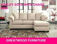 ASHLEY SOFA WITH REVERSIBLE CHAISE…$799 ONLY